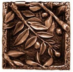 Design Tuscany Mediterranean Olive Leaves Tile, Silver (Pack of Kitchen Wall Tiles, Kitchen Backsplash, Copper Kitchen, Decorative Tile, Italian Style, Tile Design, Hand Carved, Bronze, Cool Stuff