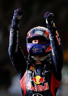 Mark Webber celebrates winning the 2012 Monaco Formula One Grand Prix