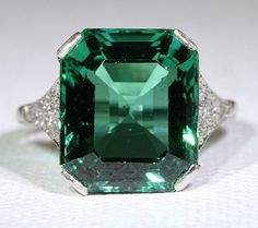 Edwardian Platinum Pave Diamond and 8.35 Carat Tourmaline Cocktail or Engagement Ring  ULTIMATE WANT!