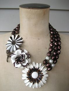 Statement Necklace, Enamel Flower Necklace, Multi Chain Necklace, Bib Necklace - Cookies and Cream