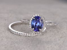 1.28ctw Oval Tanzanite Engagement ring,VS Diamond Promise Ring,14K White Gold,Halo Bridal Ring,wedding band,Blue Gemstone ring,Fine 4A Stone by popRing on Etsy