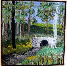 Art Quilt Landscape Wall Hanging Confetti Fabric Painting.   SallyManke                                                         .          .