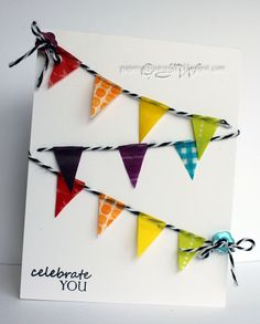 Pretty flag card made with washi tape and twine - by Glenda J