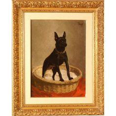 Great 1900 dog portrait painting, miniature doberman pinscher.
