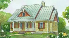 Cottage Style Home Plans Small House Plans Southern Living Cottage Style Home Watercolor Rendering F Small Cottage Style Ranch Home Plans Small Cottage Homes, Cottage Style Homes, Cottage House Plans, Craftsman House Plans, Coastal Cottage, Tiny Homes, Cottage Ideas, Modern Craftsman, Cottage Living