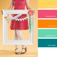 Daffodil Delight, Strawberry Slush, Pumpkin Pie, Coastal Cabana, Island Indigo #stampinupcolorcombos