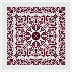 Decorative square Miki Cross stitch pattern PDF