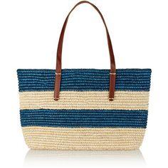 Sensi Studio Striped leather-trimmed woven toquilla straw tote