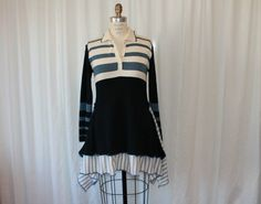 Upcycled clothing Striped dress Boho tunic Urban hippie clothes  Women's  top Eco fashion festival wear blue white black M-L reconstructed