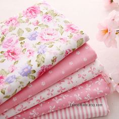 Light Pink Cotton Fabric Flower Stripe Plain Pink by fabricmade, $5.20