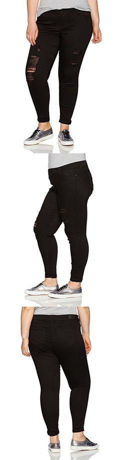 Celebrity Pink Jeans Women's Plus Size Destruct Cuffed Skinny Jeans, Santiago Black, 24