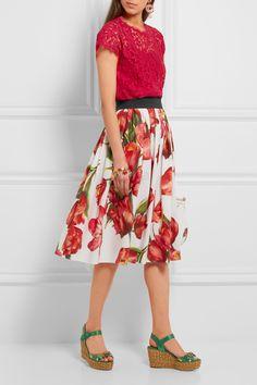Dolce & Gabbana | Floral-print cotton-poplin skirt | NET-A-PORTER.COM