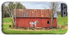 Horse IPhone 6s Case featuring the photograph Old New England Red Horse Barn by Edward Fielding