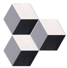 Geometric Decor Ebony/Dove/White. An alternative take on the on-trend hexagon tiles. These cube formats are available in four colour ways and with block colour base tiles to complement your scheme. From Mandarin Stone.