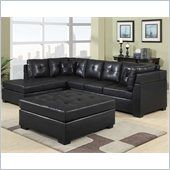 Coaster Darie Leather Sectional Sofa with Left-Side Chaise in Black - 500606