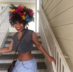 Anonymous said: Im like sure you started the flower afro trend. (Cause i did it too after seeing you) Answer: Flower fairy taking over from the 99 to Pelo Natural, Natural Hair Tips, Natural Hair Styles, Black Girl Magic, Black Girls, Black Women, Black Is Beautiful, Beautiful People, Afro Punk Fashion