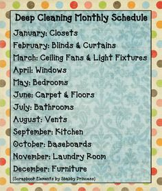 Deep Cleaning Monthly Schedule