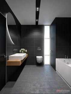 Interior Teddy Company / BLACK bathroom Bathroom Interior: Na . Interior Teddy Company / BLACK bathroom Bathroom Interior: Na . Black Tile Bathrooms, Modern Master Bathroom, Bathroom Vanity Tops, Bathroom Layout, Modern Bathroom Design, Bathroom Interior Design, White Bathroom, Bathroom Ideas, Bathroom Organization