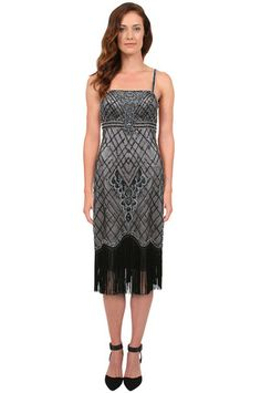 Stunning 1920s party dress - Sue Wong Embroidered Fringe Dress in Black/Platinum