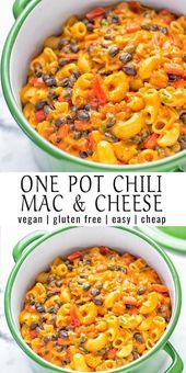 This Vegetarian Chili Mac Cheese is super creamy vegan gluten free and a one pot casserole ready&; This Vegetarian Chili Mac Cheese is super creamy vegan gluten free and a one pot casserole ready&; Tasty Vegetarian Recipes, Vegetarian Chili, Vegan Dinner Recipes, Veggie Recipes, Whole Food Recipes, Cooking Recipes, Healthy Recipes, Vegetarian Casserole, Vegan Crockpot Recipes
