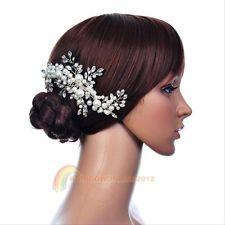 Bridal Flowers Rhinestone Tiara Pearl Crystal Wedding Hairdress Hair Clip Comb