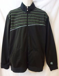 e07af8e6bd7a Quicksilver surfer zip up black w  green details track style jacket men s  SZ XL