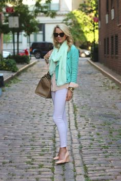 aqua leather jacket, light aqua scarf & white skinnies.