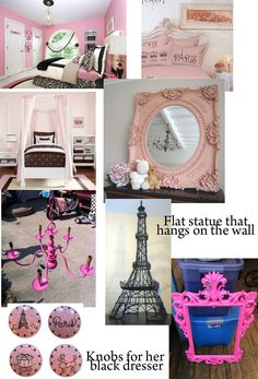 pink and black paris theme girls room...idea if I ever convert Rory's black room to Scarlett's room. #teengirlbedroomideasthemes