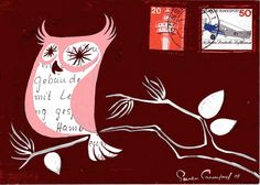 'Pink Owl' (postcard doodle) by Susan Crawford of Plankton Art Co. Pink Owl, Owl Doodle, Rooster, Moose Art, Mixed Media, Doodles, Christmas Ornaments, Holiday Decor, Drawings