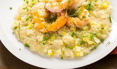 Rizoto me kalampoki kai psites garides Greek Recipes, Fish Recipes, Olives, Risotto, Ethnic Recipes, Food, Al Dente, Olive Oil, Rice