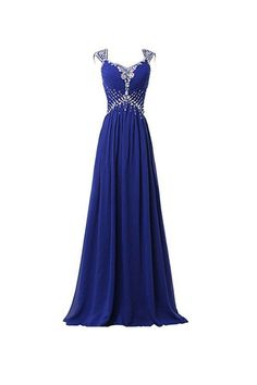 Chiffon V-neck Long Prom Gowns Party Dresses PG268