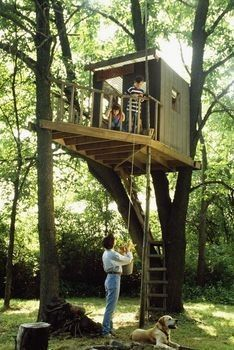 New Simple Tree House Kids Front Yards 66 Ideas Building A Treehouse, Build A Playhouse, Treehouse Kids, Treehouses For Kids, Backyard Treehouse, Backyard Fort, Kids Building, Cubby Houses, Play Houses