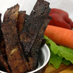 Veggie bacon made with tofu Vegetarian Bacon, Vegetarian Recipes, Tofu Recipes, Whole Food Recipes, Vegans, Glutenfree, Eat, Gluten Free, Sin Gluten