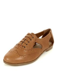 Tan (Stone ) Wide Fit Tan Leather Embossed Cut Out Brogues  | 318745118 | New Look