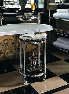 Ideal as a tub side surface, or additional vanity, the Belmont Rolling Valet adds elegance and functionality to your master bath to ensure a spa like experience every time.