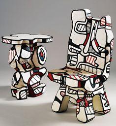 Jean Dubuffet - Guéridon and Chaise de Practique Foncrion … Modern Sculpture, Sculpture Art, Modern Art, Contemporary Art, Art Informel, Jean Dubuffet, Francis Picabia, Art Brut, Gandalf