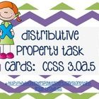 Distributive Property of Multiplication Task Cards: number bonds, multiple choice, tape diagrams, and constructive response formats.