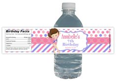 Gymnastics Birthday Party 15ct WATER Bottle labels Customized waterproof #Birthday