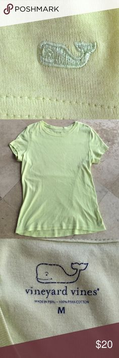 Vineyard Vines Tee EUC Electric green Vineyard Vines Pima cotton tee. Excellent condition. Whale embellishment on bottom left of top. Vineyard Vines Tops