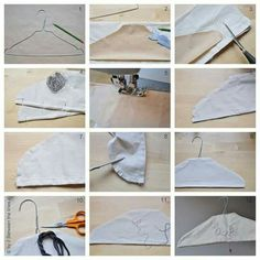 hanger cover How to cover a clothes hangerHow to cover a clothes hanger Sewing Hacks, Sewing Crafts, Sewing Projects, Clothes Crafts, Sewing Clothes, Small Projects Ideas, Lavender Crafts, Scented Sachets, Yarn Thread