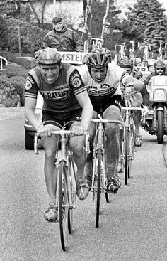 1977-1978 - TI-Raleigh - Hennie Kuiper and Francesco Moser in the Amstel Gold Race. | via Flickr