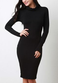 Sleek yet comfy, this black turtleneck midi dress is the perfect addition to your fall wardrobe.