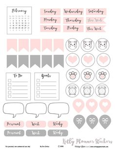Free kitten themed journaling cards printable for personal planning or other types of papercrafting. Free for personal non-commercial use only Printable Cards, Printable Planner, Free Printables, Planner Stickers, Planners, Diy And Crafts, Paper Crafts, Diy Back To School, Study Planner