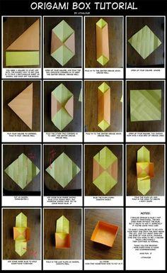 Origami Box Tutorial by Athalour on DeviantArt Origami Mouse, Origami Fish, Origami Dragon, Origami Paper, Diy Paper, Paper Crafts, Easy Origami, Diy Crafts, Origami Star Box