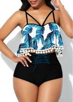 Sexy Bikinis Tropical Print Pom Pom Lace Up Front Bikini Set Plus Size Swimwear, One Piece Swimwear, Bikini Swimwear, Bikini Set, Sexy Bikini, Lace Bikini, Cute Bathing Suits, Cute Swimsuits, Swimwear Fashion