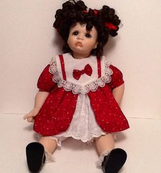 Vintage Porcelain Doll 20 Inches Dressed In by HillysVintageNook, $30.00