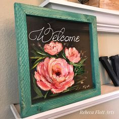 Items similar to Welcome sign pink peonies, pink peonies on Etsy Painted Window Screens, Window Art, Art Floral, L'art Du Vitrail, Bel Art, Stained Glass Art, Pink Peonies, Painting On Wood, Pallet Painting