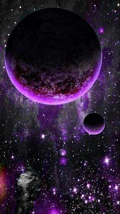 Space Phone Wallpaper, Planets Wallpaper, Purple Wallpaper, Galaxy Wallpaper, Wallpaper Backgrounds, Fantasy Landscape, Fantasy Art, Art Galaxie, Space Artwork