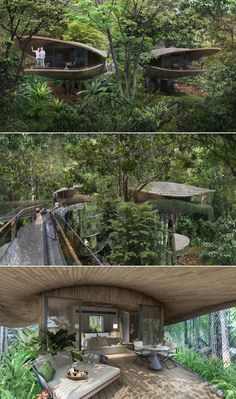 Seed Pod-Shaped Treehouses at New Mandai Resort These treehouses will be designed to eliminate barriers between nature and living spaces. Native tree species will be planted for integrating the resort to the surrounding area. Green Architecture, Futuristic Architecture, Architecture Design, Floating Architecture, Organic Architecture, Beautiful Tree Houses, Cool Tree Houses, Tree House Designs, Forest House