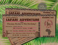 Invitación de cumpleaños de Safari billete  bebé ducha